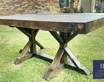 Made to order 108 inch x style farmhouse by indigointeriors for 108 inch dining table