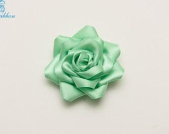 jade ribbon flower hair clip - adult hair accessories - flower girl hair clip 110