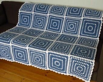 Crochet Afghan Crochet Blanket Afghan Blanket Blue Crochet Afghan Blue Crochet Blanket Blue Afghan Blanket Blue Sofa Throw Lap Blanket