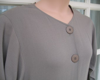 Jaeger Dress Size 16 1980s Taupe Wool