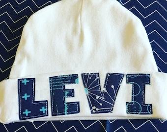 Custom baby name hat, Boy Beanie Hat, Newborn name hat, Newborn Hospital Hat, Newborn hat