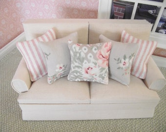 Miniature doll house 12th scale sofa or scatter cushions x 5  pinks and beiges