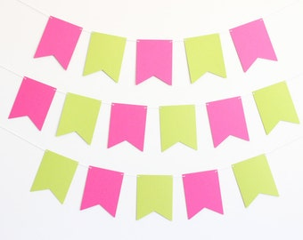 Ribbon Pennants Party Banner - Customizable Colors