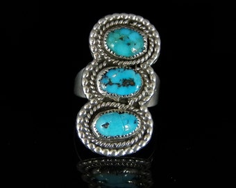 Sleeping Beauty Turquoise Ring Sterling Silver Handmade Size 9.0, R0469