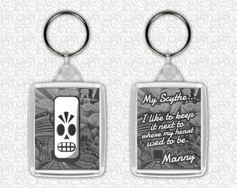 Grim Fandango Manny Calavera Scythe Adventure Game Keychain - Double Sided Keyring