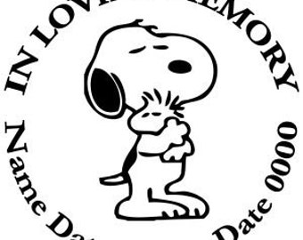 In Loving Memory Round Snoopy Woodstock Vinyl Decal Sticker