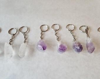 Amethyst or Quartz Crystal Keychains - Crystal Charm Keychain