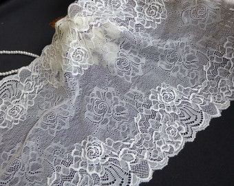 Stretch Lace Wide Lace Elastic Off White Floral Roses Lace Trim - Per Yard
