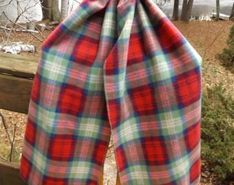 Red, Blue and Green Plaid Fleece Shawl Scarf, Head Scarf, Warm Wrap, Head Wrap