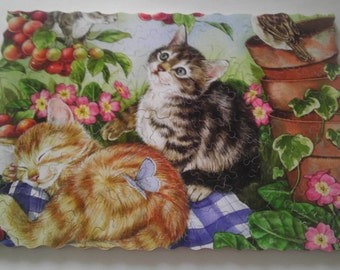 """New Hand Cut Wooden Jigsaw Puzzle """"The Baby cats'' in Wooden Box"""