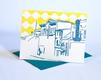Ellicott City Maryland Letterpress Card | Main Street | turquoise & chartreuse single blank card with envelope