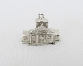Vintage Sterling Silver 3D Schoolhouse Pendant