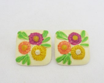 Vintage Jewelry Multi Color Painted Flower Lucite Earrings