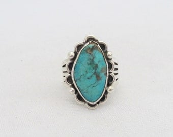 Vintage Southwestern Sterling Silver Turquoise Ring Size 8.5