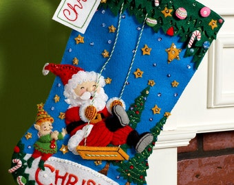 "Bucilla Christmas Swing ~ 18"" Felt Stocking Kit #86185 Santa, Elf, Discontinued DIY"