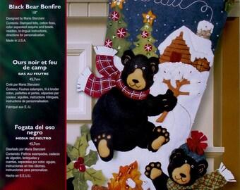 "Bucilla Black Bear BonFire ~ 18"" Felt Christmas Stocking Kit #85467 Winter Cabin DIY"