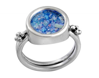 Brand New Sterling Silver Ancient Blue Roman Glass Round Stylish Ring