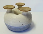 Vintage Mid Century Modern Organic Studio Art Pottery Hand Made Salt Glaze Seed Weed Moon Flower Pot Vase Blue Ivory White Speckled Marked