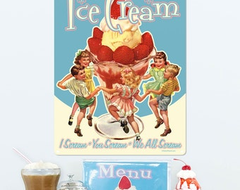 Ice Cream Sundae Kids I Scream Metal Sign - #37342