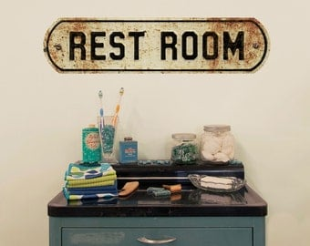 Rest Room Distressed Embossed Look Wall Decal - #53481