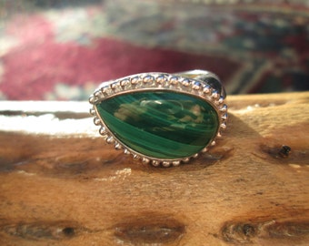 Malachite Green and Sterling Ring Size 6.25
