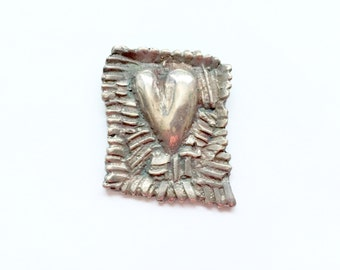 Stylized Sterling Silver Heart Brooch/Pin  Abstract