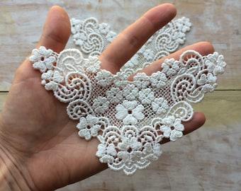 2 Ivory Venice lace applique/Altered couture/ Rayon lace/ Ivory lace applique/ Bridal lace/ Lace Jewelry/ Lingerie/ Costume design/ DIY