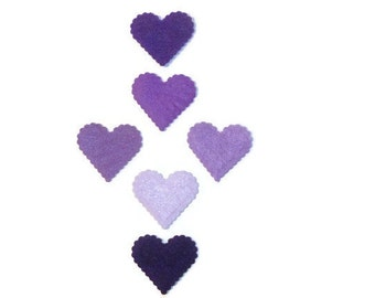purple die cut fabric hearts, embellishments, crafting, girls crafts, hair crafts, shades of purple, felt shapes, supplies, pre cut 50 piece