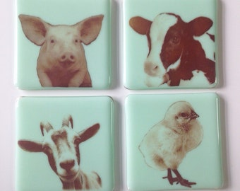 Farm Animal Babies Coaster Set of 4 Chicken, Pig, Goat, Cow
