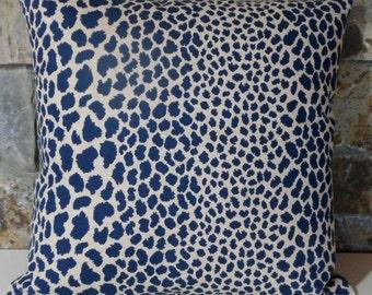 Indigo Animal Print Pillow Cover//Indigo Leopard Throw Pillow