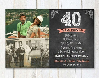 40th anniversary gift for wife husband or best friends - 40th anniversary parents gift - chalkboard sign photo collage - DIGITAL FILE!