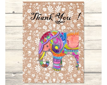 Indian Wedding Elephants Thank You Cards Customizable - Printable Digital Download
