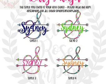 Split Arrow Name Monogram Sticker - Yeti Tumbler Monogram Decal - Lilly Monogram Decal - Tumbler Cup Decal - Initial Car Decals - Arrow Name
