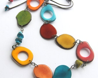 Tropical Celebration! Long Tagua necklace in Rainbow Colors