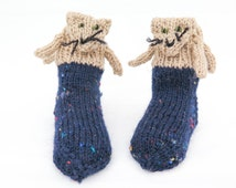 HAND KNIT Baby Socks, Animal Socks, Cat Socks , Novelty Socks, Toddler Cat Socks, 12- 24 months size, Blue Tan Socks,  Baby  Wool Socks