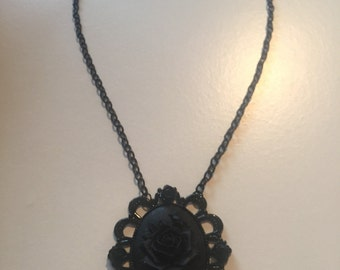 Midnight black rose necklace