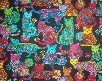 CALICO CATS cotton quilt fabric-Timeless Treasures-by the yard