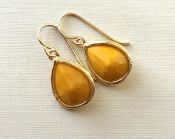 Mustard Earrings, Crystal Dangle, Mustard Teardrop Earrings
