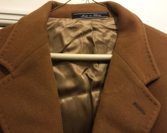 Cashmere Coat, Kilgore Trout, 100%  Cashmere, Camel Coat, Mens, Made in Italy. Size 52