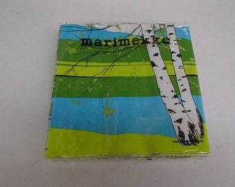 Finnish Marimekko Kaiku Birch Luncheon Napkins - Two packages of 20
