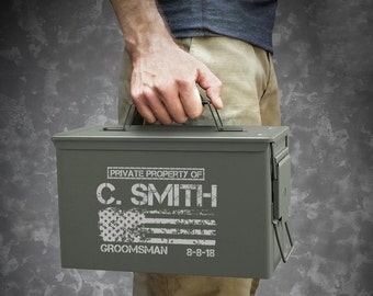Personalized Engraved .50 Cal or .30 Cal Caliber Ammo Can Storage Box Groomsmen Gift Box Wedding Groom Father Dad Grandfather Friend Gift