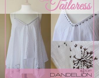 Dandelion Handkerchief Long Dress Top PDF Digital ePattern Instant Download Sewing Pattern - Sizes 4-18