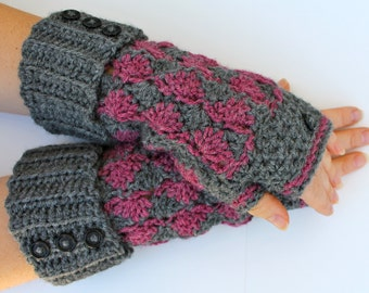 crochet fingerless gloves pattern -  wrist warmers fingerless mitts pattern wristers pattern Oxford Shells fingerless gloves crochet pattern