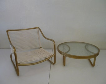 Rare Brown Jordan Kailua Low Chair and Table Gold Powdercoating and Yacht Cording Mid Century Modern Outdoor Patio Furniture