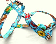 Guard blue harness with pattern comic, bang, pow, boom. For dog, IG, sighthounds, pugs, bulldogs, Italian greyhound, poodle, whippet