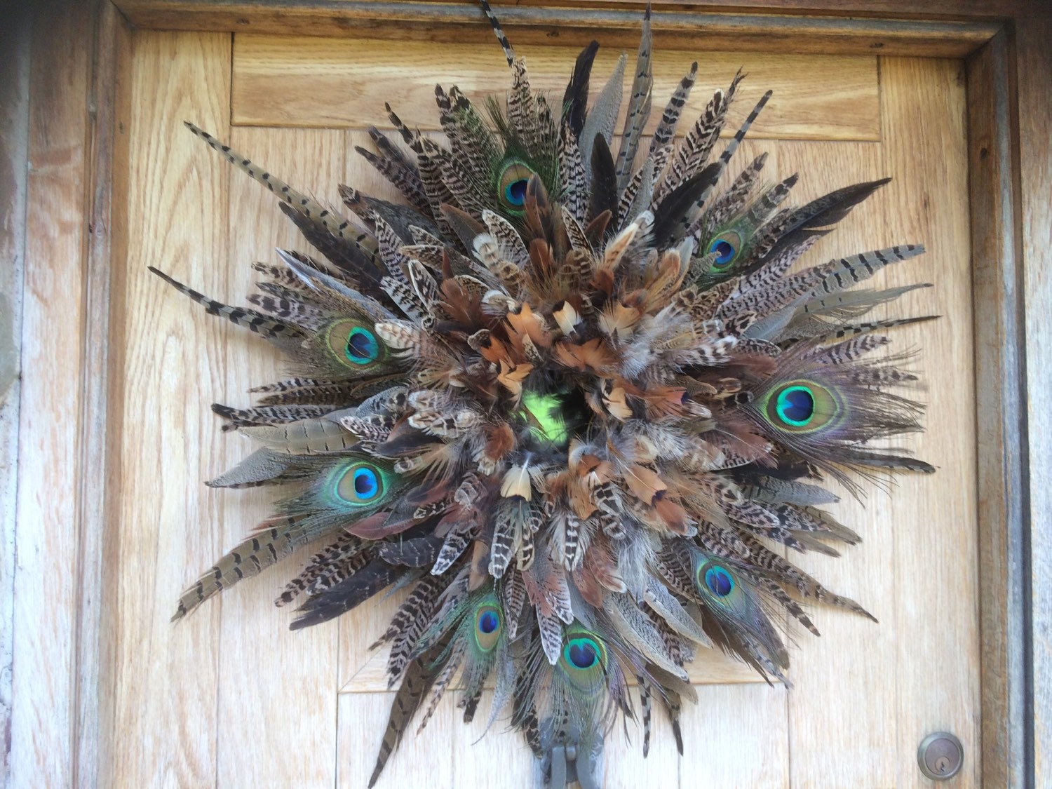 Pheasant feather wreath/wall decor with peacock feathers