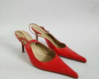 Together 1980's vintage pointy red slingback stiletto heeled shoes with buckle fastening UK size 3 Made in Italy