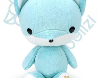 "Bellzi® Cute Fox Plush Stuffed Animal Toy ""Teal"" w/ White Contrast Fox Plushie - Foxxi"