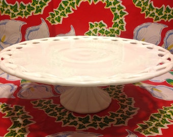 Vintage Indiana milk glass footed Colony Lake cake plate