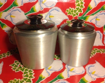 Vintage Kromex aluminum flour and sugar canisters with black plastic lids- USA